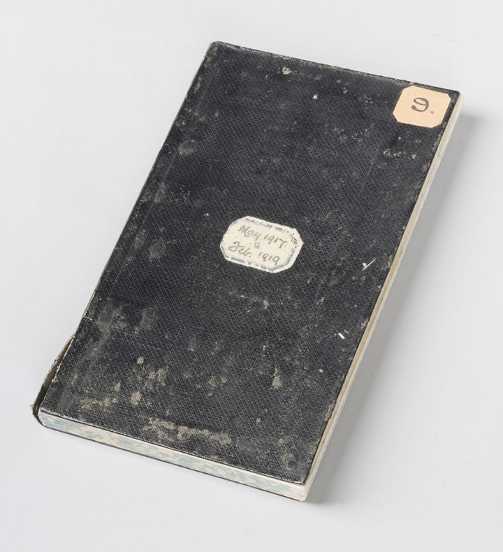 George Leslie Adkin's diary, well-worn and with a sticker on the cover saying May 1917 to Feb 1919