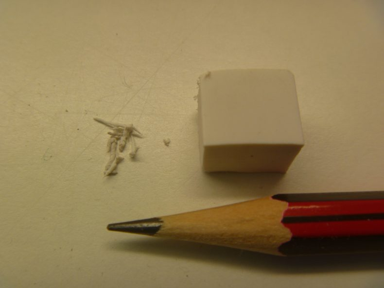 Eraser and the erdu created by rubbing a herbarium specimen (pencil for scale).