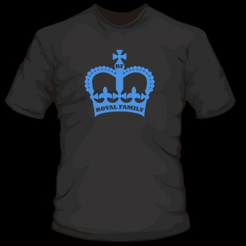Black t-shirt with a crown symbol in blue with the words 'royal family;