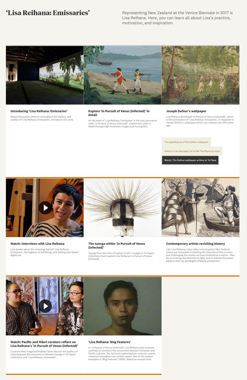 A section of the Learning Resource on the website, 2017. Te Papa