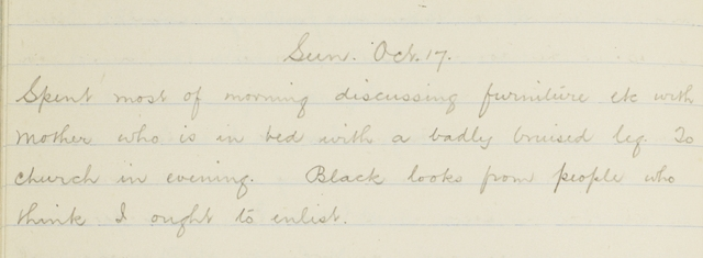 George Leslie Adkin diary, Sunday 17 October 1915, from George Leslie Adkin personal diary Feb. 1915-May 1917, by Leslie Adkin. Te Papa (CA000245/001/0008)