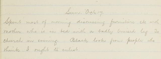 George Leslie Adkin diary, Sunday 17 October 1915, from George Leslie Adkin personal diary Feb. 1915-May 1917, by Leslie Adkin. Te Papa (CA000245/001/0008)