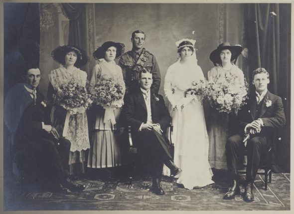 Adkin wedding - Leslie to Maud, 14 December 1915, Hastings, by Wallace Poll. Gift of Derek Noble, 1995. Te Papa (O.002133)