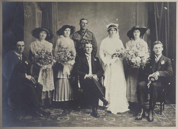 Adkin wedding - Leslie to Maud, 14 December 1915, Hastings, by Wallace Poll. Gift of Derek Noble, 1995. Te Papa (O.002133)