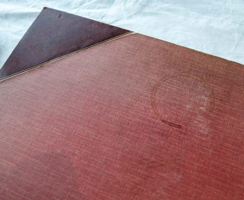 Coffee mug stain on bound book