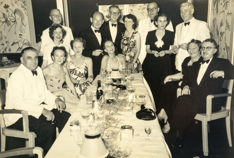 Kathleen Pether and Harold Pether with a group of friends.