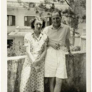 Kathleen and Harold Pether standing on a neighbour's balcony, 1947–1948. Their home on Bukit Timah Road is in the background. Photographer unknown. Reproduced courtesy of the Pether family.