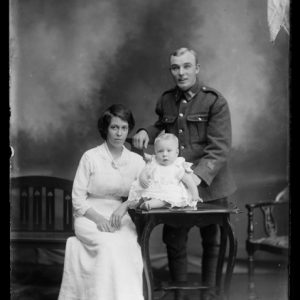 Portrait of Harry Luckman with Ellen Luckman and baby Harry George Luckman, 1917, Wellington, by William Berry. Purchased 1998 with New Zealand Lottery Grants Board funds. Te Papa (B.043586)