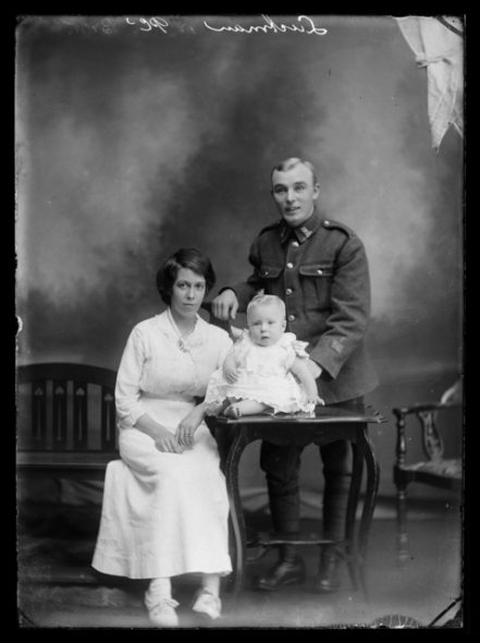 Portrait of Harry Luckman with Ellen Luckman and baby Harry George Luckman