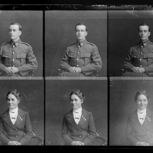 Three portraits each on one negative of William Horace James and Gertrude Miriam James., 1915, Wellington, by William Berry. Purchased 1998 with New Zealand Lottery Grants Board funds. Te Papa (B.045525)