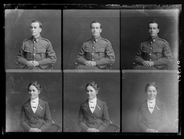 Three portraits each on one negative of William Horace James and Gertrude Miriam James