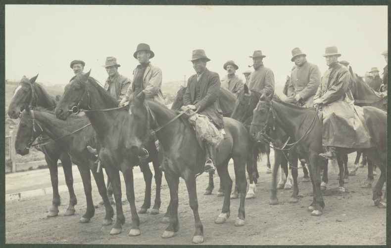 [The Levin Troop]. From the album Wellington waterfront strike, 1913, New Zealand, maker unknown. Te Papa (O.030460). Leslie Adkin is front right on horseback.