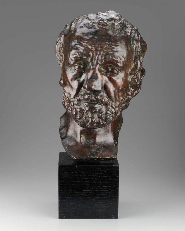 Bronze cast of a man's face