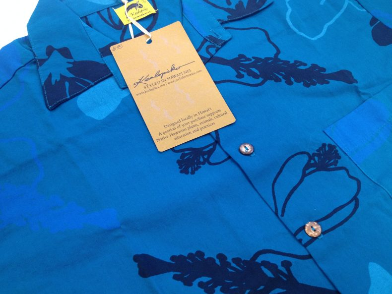 Kealopiko's Pua Aloalo shirt with its info tag. Photo: Claire Regnault