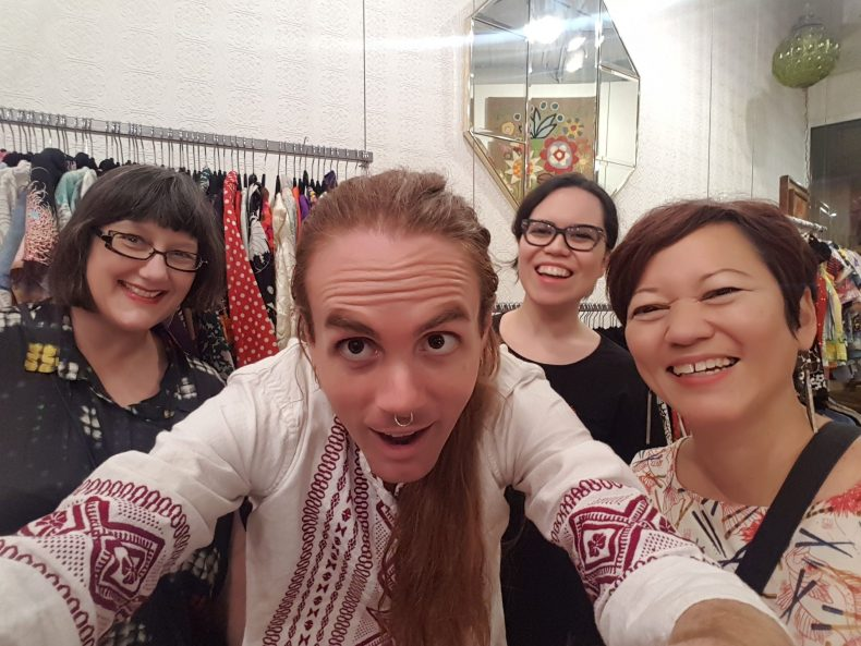 The collecting team - Claire Regnault, Sonya Withers and Noelle Kahanu with Bradley from Honolulu's Barrio Vintage. Photo: Bradley