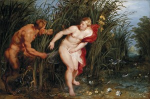 Pan and Syrinx *oil on panel *40,3 x 61 cm *ca 1617