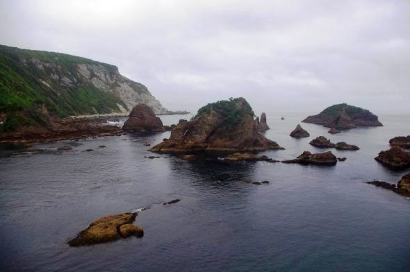 The Zero Nuggets off Chalky Island, viewed from the top of Finger Rock. Photo by Colin Miskelly. Te Papa