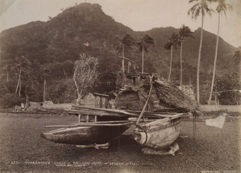 Thakambau's Canoe - Nai-koro-koro - Levuka - Fiji., 14 July 1884, Fiji, by Burton Brothers studio. Purchased 1981 with New Zealand Lottery Board funds. Te Papa (O.002019)