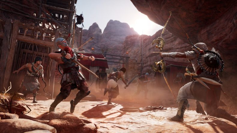 Bayek kicking some Roman gluteus maximus. Credit: Ubisoft.