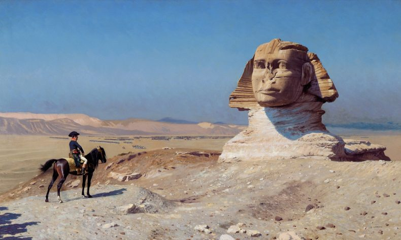 Bonaparte devant le Sphinx, oil on canvas. Credit: Jean-Léon Gérôme (1867–1868), extracted from Wikimedia Commons [public domain].