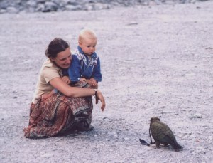 Zsuzsanna Guba and Gabor Zeke become acquainted with a kea at Fox Glacier. Photo by Tamas Zeke