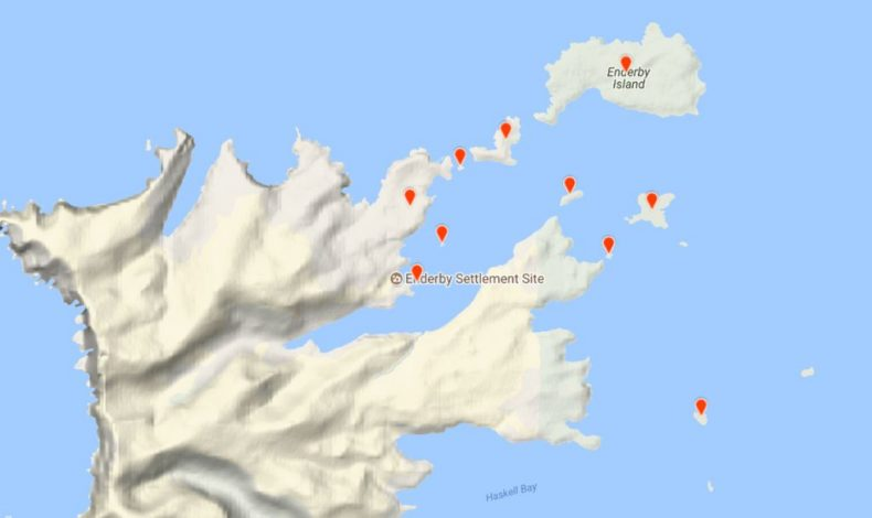 Islands in Port Ross surveyed by the Te Papa team. Image derived from eBird records submitted by the team