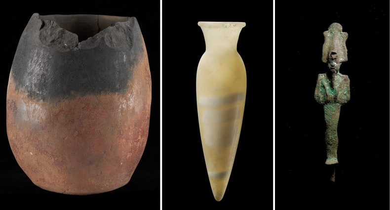 More examples of Egyptian artefacts in Te Papa's collection (not to scale). Left: black topped jar, Predynastic Period. Te Papa FE000060 [licence CC BY-NC-ND 4.0]. Center: vase, Old Kingdom (Sixth Dynasty), Te Papa FE000054 [licence CC BY-NC-ND 4.0]. Right: figure of Osiris, Late Period, Te Papa FE000416 [licence CC BY-NC-ND 4.0].