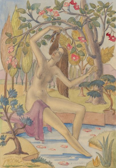 Drawing of a naked woman in the trees