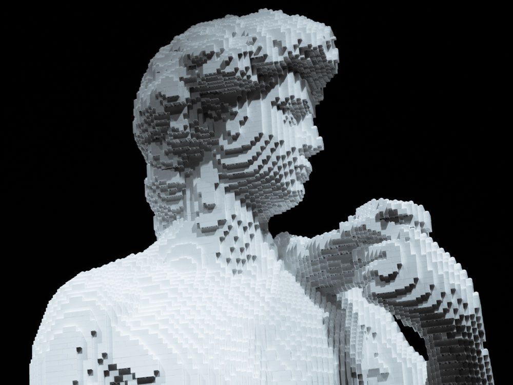 LEGO David (detail), by Ryan McNaught, 2017