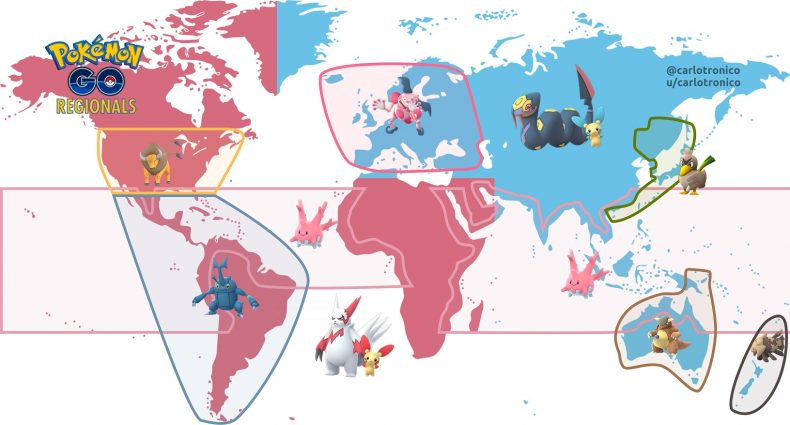A map showing the exclusive Pokémon for each region of the globe. Image by Carlo P. Gómez, used with permission.