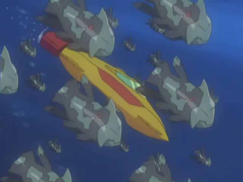 Animated scene featuring Relicanths and a submarine