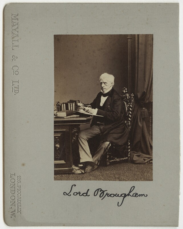 Henry Brougham, 1st Baron Brougham and Vaux. 1863. Photograph by John Jabez Edwin Mayall. Albumen print. © National Portrait Gallery, London (NPGx 4715) CC BY-NC-ND 3.0