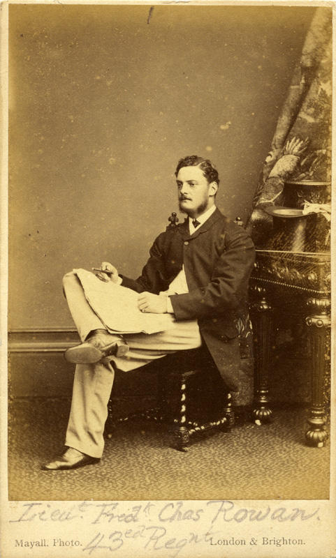 Lieut. Fredk. Chas Rowan, 43rd Regnt, 1869-1873. Cartes de visite, Mayall Studio, London. Courtesy of Puke Ariki (PHO2008-1796)