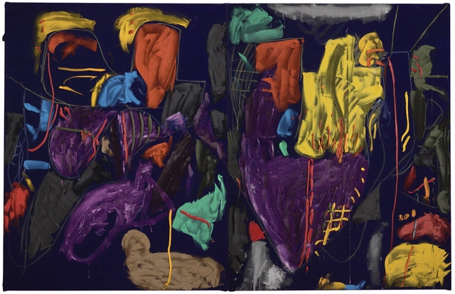 Julian Dashper, Purple rain at Glorit, 1986. Purchased with Ellen Eames Collection funds, 1986. Te Papa (1986-0022-1/A-B and B/B)