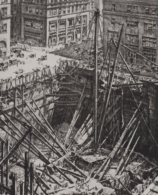 Etching of a city excavation