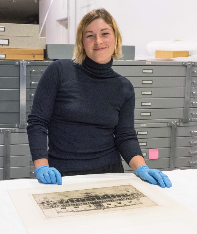 Siobhon poses with etching