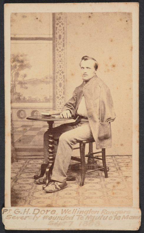 Private D.H. Dore, Wellington Rangers. Severely wounded Te Ngutu o Te Manu Sept 7 1868, circa 1868, maker unknown. Purchased 1916. Te Papa (O.013003)