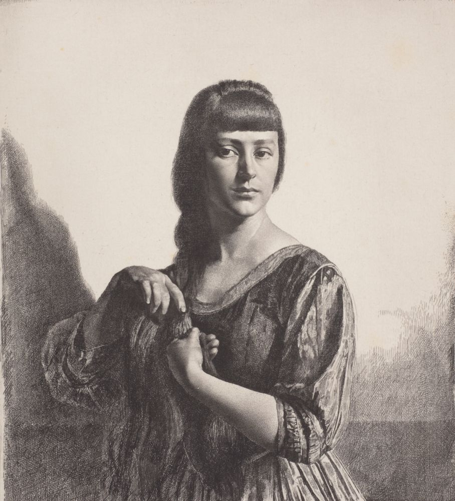 Etching of a woman playing with her plaited hair