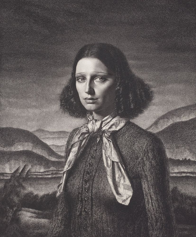 Etching of a woman