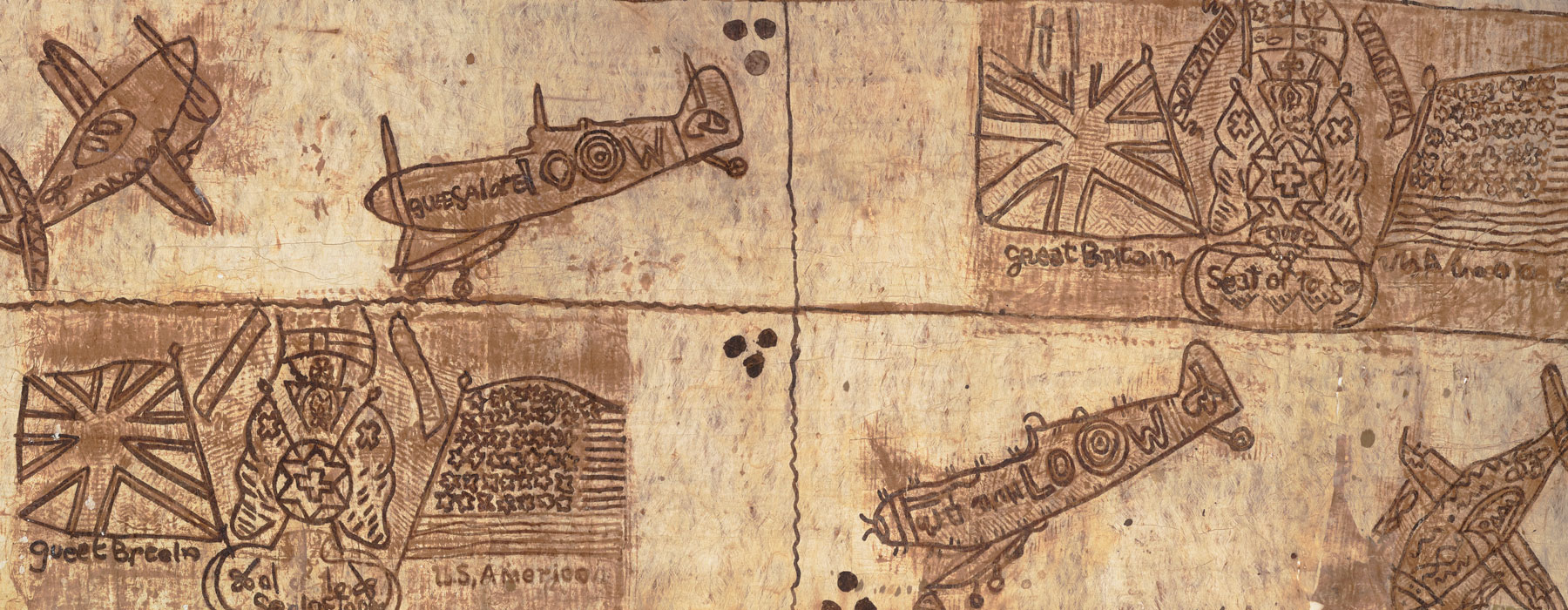 Tapa cloth depicting Spitfires