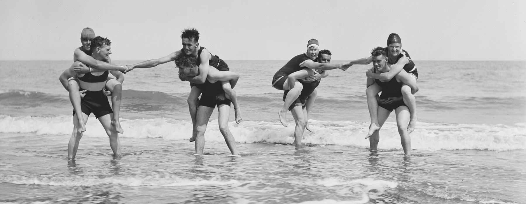 People playing in the sea