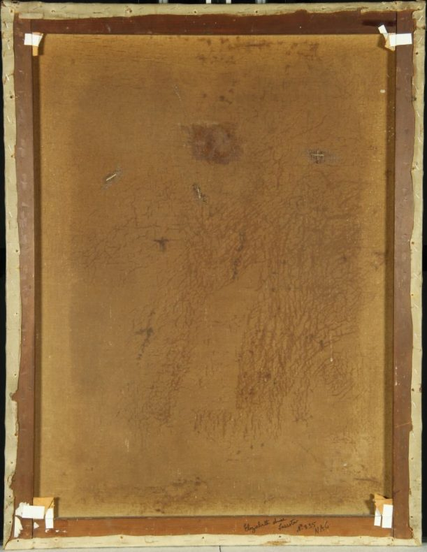 The back of a painting showing the framing and adhesive used in a previous conservation effort