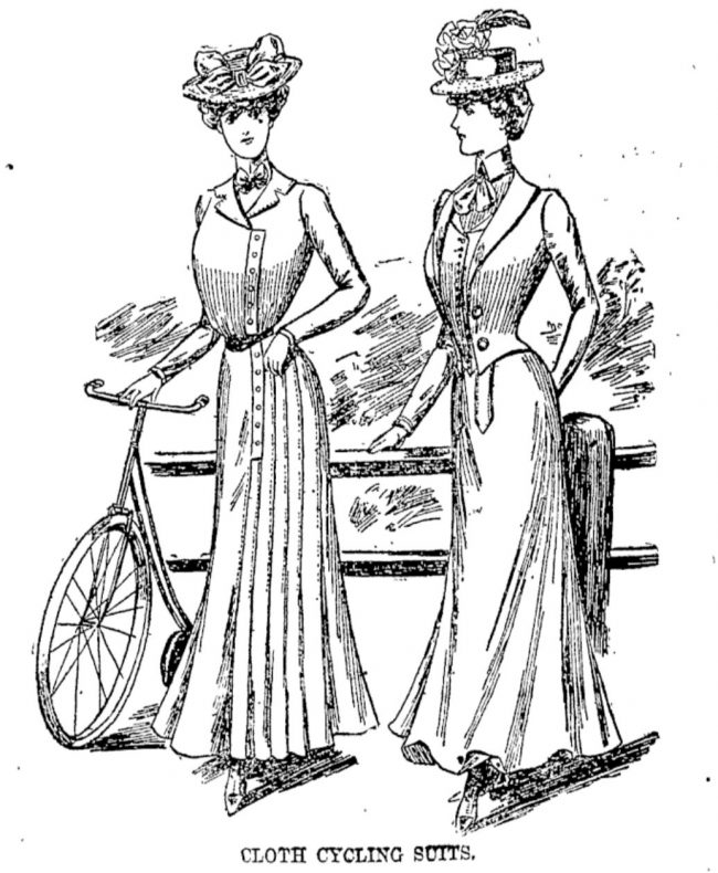 At the turn of the century, New Zealand women were still being encouraged to wear smart tailored skirts, blouses and jackets for cycling.