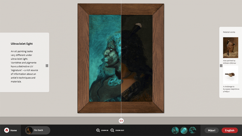 Seeing invisible layers of a painting through UV light in the portrait wall digital label