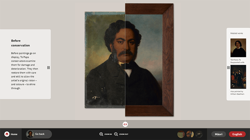 Highlighting the before and after of conservation treatment on a portrait of a Māori man
