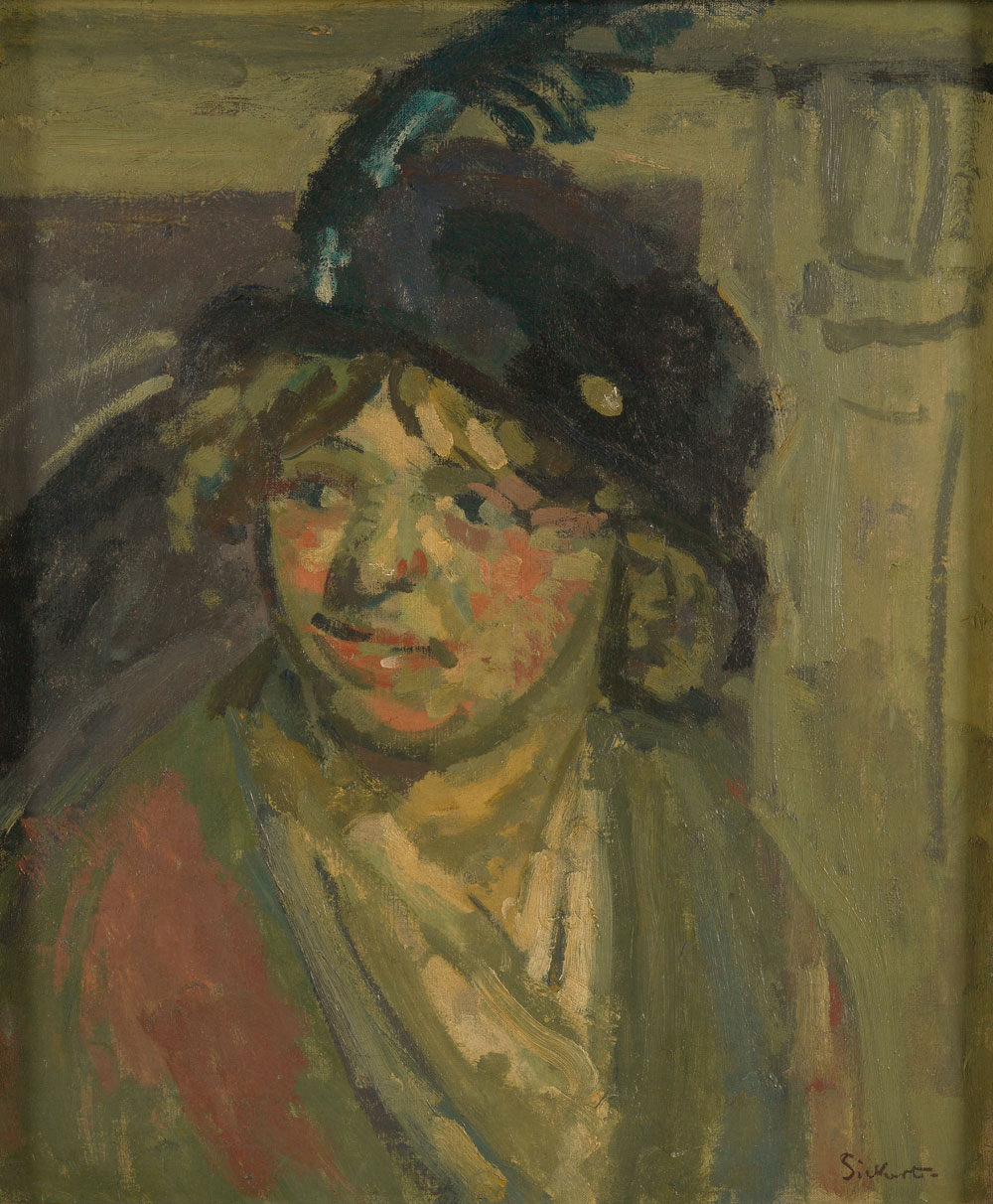 Oil painting of a lady in a hat