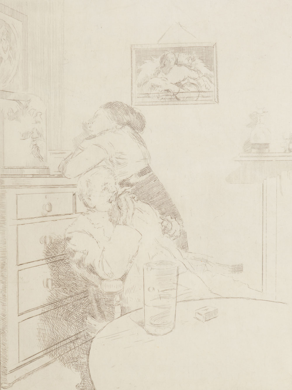 Etching of a couple lounging in a room, not looking at each other