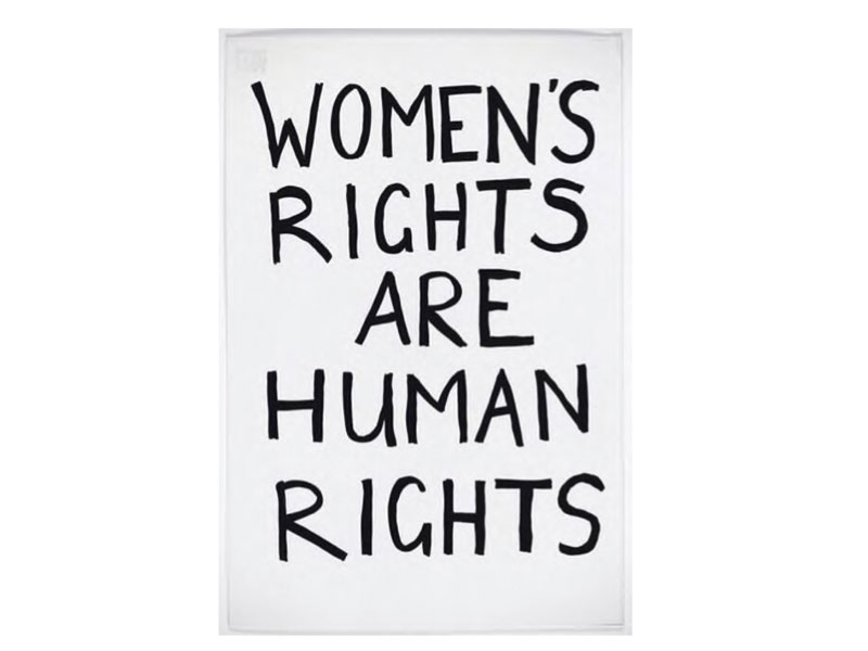 Placard with the words 'Women's Rights Are Human Rights'