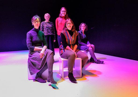 Five women pose in Tiffany Singh's Total internal reflection