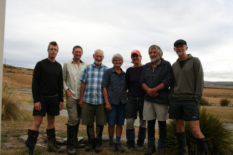 What a privilege to be in the field in the Ida Range with these NZ botanists! Left to right: Antony Kusabs, Mike Thorsen, Neill Simpson, Barbara Simpson, Heidi Meudt, David Lyttle, John Barkla. Photo by Heidi Meudt @ Te Papa.